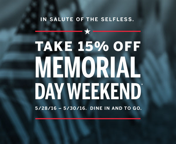 In salute of the selfless. Take 15% off Memorial Day Weekend.