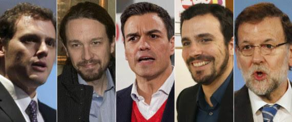 De izquierda a derecha, los candidatos Albert Rivera, Pablo Iglesias, Pedro Sánchez, Alberto Garzón y Mariano Rajoy. Foto tomada de The Huffington Post