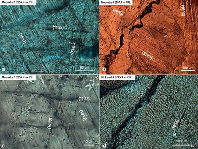 Imaging of the rock in the Warburton Basin revealed deformation consistent with a huge impact