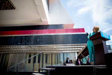 Hillary Clinton in front of the shuttered Trump Plaza casino and hotel in Atlantic City on Wednesday.