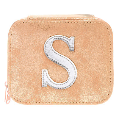 "BLUSH PINK ""S"" INITIAL JEWELRY CASE"