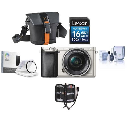 Alpha A6000 Mirrorless Digital Camera with 16-50mm E-Mount Lens, Silver - BUNDLE - with Ca