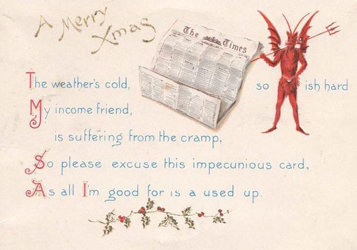 Thiệp Giáng sinh thời khủng hoảng với thông điệp 'hãy thứ lỗi cho tấp thiệp rẻ tiền này'.