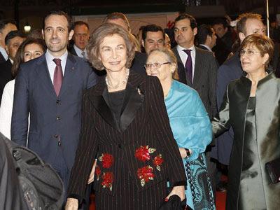 La reina, a su llegada al preestreno. EFE/Kiko Huesca