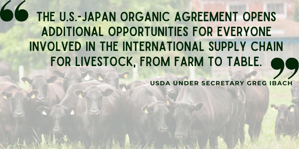 U.S. expands organic equivalency arrangement with Japan