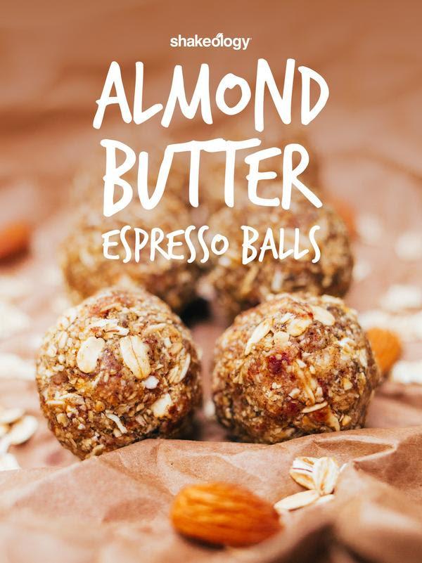 almond butter espresso balls, cafe latte shakeology, shakeology no bake snacks, shakeology recipes