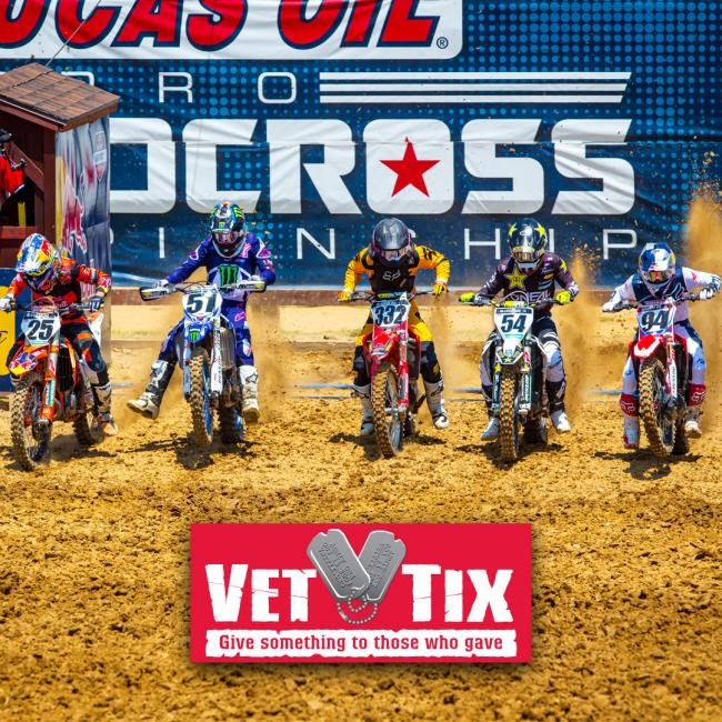 The 2019 Lucas Oil Pro Motocross season will be the eight year of partnership with Vet Tix inviting active duty military and veterans to the races.