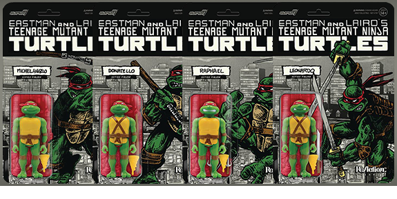 TMNT ReAction Mirage Variant PX Previews Exclusive Boxed Set of 4 Figures