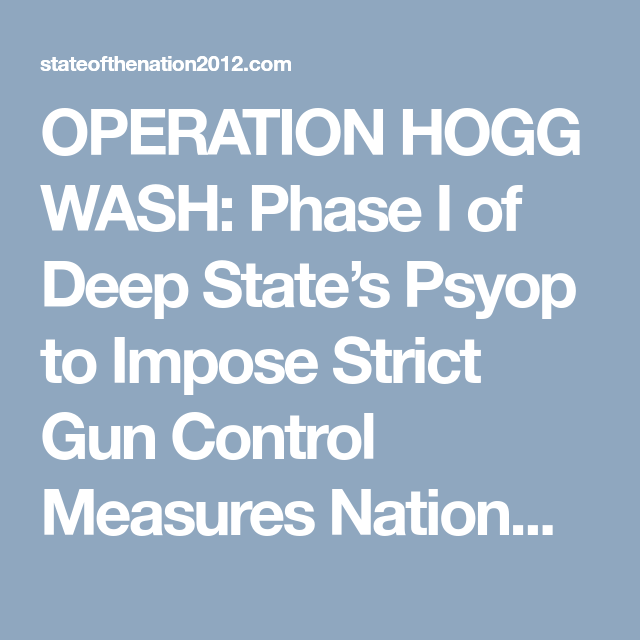 Operation Hogg Wash Blown Wide Open!