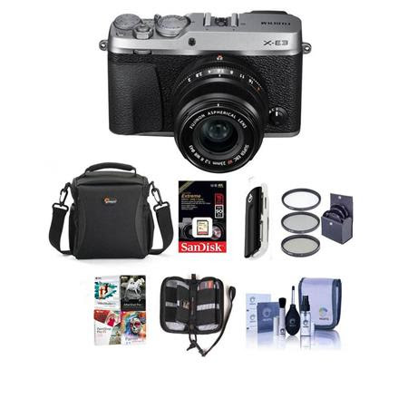 X-E3 Mirrorless Camera, Silver, with XF 23mm f/2 R WR Lens - Bundle With Camera Case, 16GB