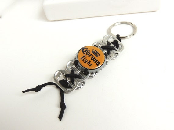 Pop Tab and Bottle Cap KEYCHAIN - Corona Light -  black and mustard gold - eco-friendly/upcycled - under 10 dollars