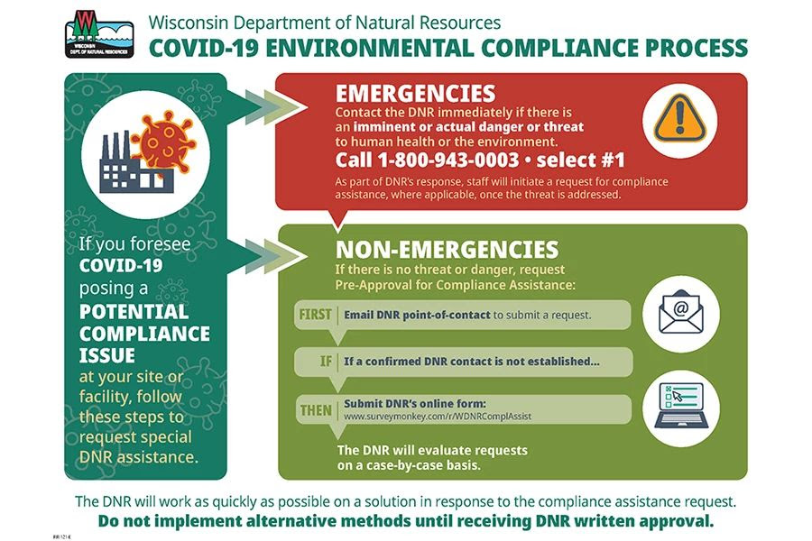 This chart outlines the environmental compliance process during the COVID-19 public health emergency. -  - Photo credit: DNR