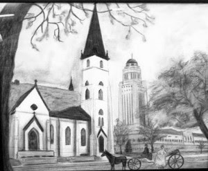 Church with horse and carriage