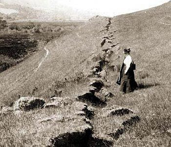 In 1906, a massive magnitude 7.9 earthquake ruptured the entire San Andreas Fault in Northern California. Photo courtesy of U.S. Geological Survey: