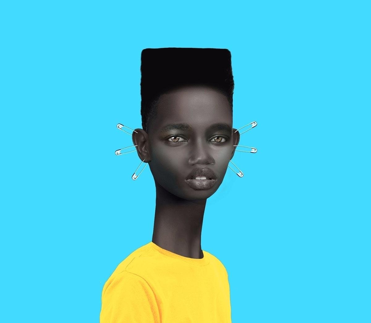 black boy against blue background