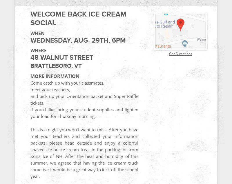 WELCOME BACK ICE CREAM SOCIAL WHEN WEDNESDAY, AUG. 29TH, 6PM WHERE 48 WALNUT STREET BRATTLEBORO,...