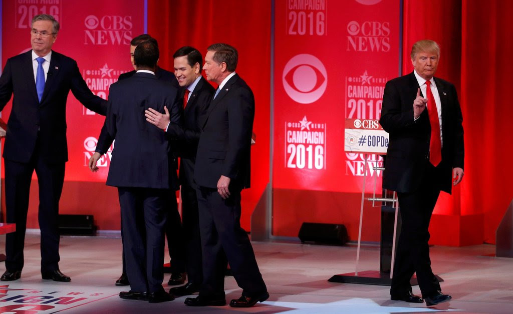 Donald J. Trump, right, walked off the stage as his rivals, Jeb Bush, Ted Cruz, Ben Carson, Marco Rubio and John R. Kasich chatted after the debate in Greenville, S.C., last week.