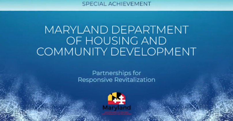 Slide from NCSHA's virtual conference announcing DHCD as the winner of the category.
