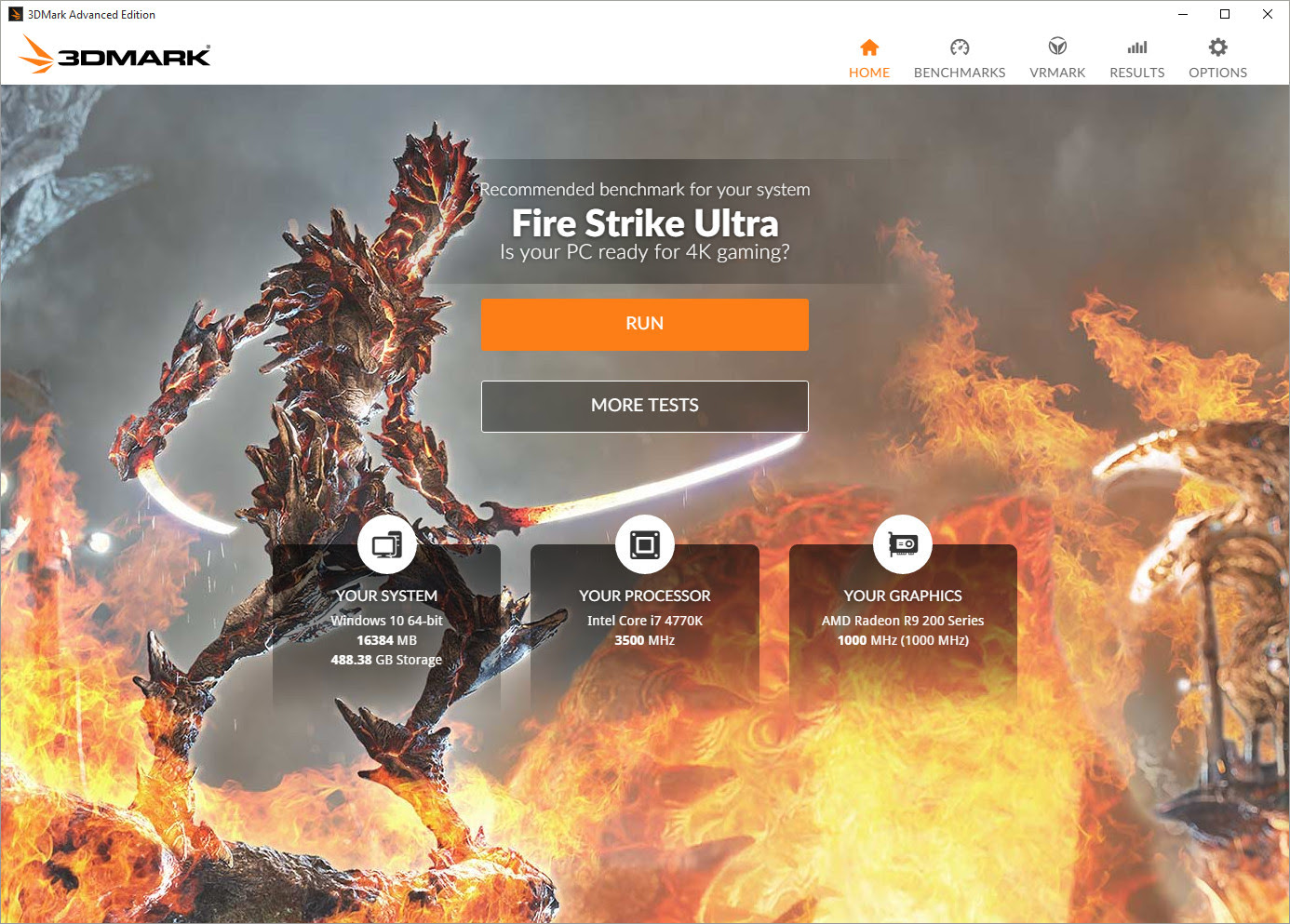 3DMark Home screen interface for 2016