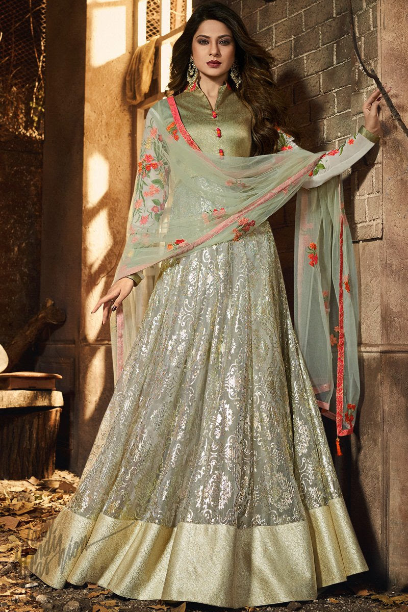 Olive Green Lycra Party Wear Gown