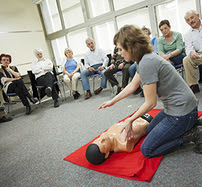 Group receiving first aid training