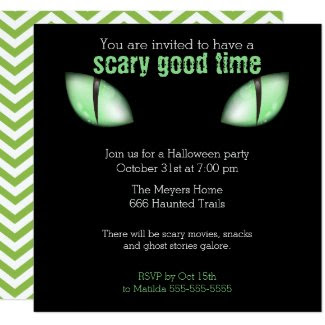 Cat Eyes Halloween Party Invitation (Green)