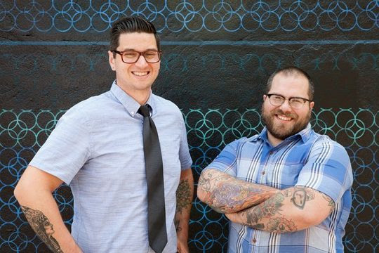 Jesse Daino (left) and Adam Williams, owners of Recess Coffee