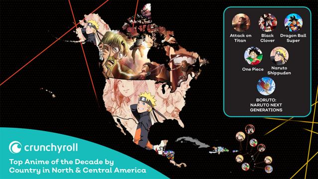 Lo más visto de los últimos 10 años de Crunchyroll por países