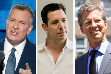 "Mayor Bill de Blasio, left, does not yet face a strong challenger to his re-election. Bradley Tusk, center, who worked for former Mayor Michael R. Bloomberg, hopes to recruit one. Shaun Donovan, right, President Obama's budget director, said he was ""not currently considering"" running."