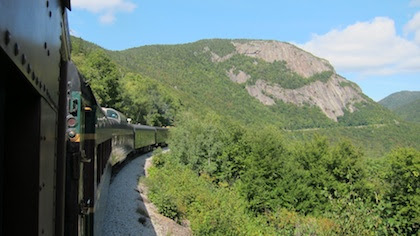 mountain and train