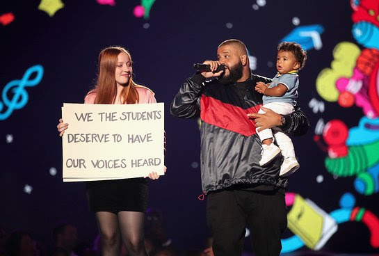 DJ Khaled and son Asahd Tuck Khaled speak onstage during the XQ Super School Live