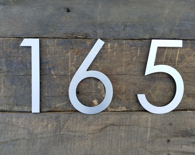 8'' Modern House Numbers Brushed Aluminum Stud Mounted Metal Address Numbers And Letters Minimalist Contemporary