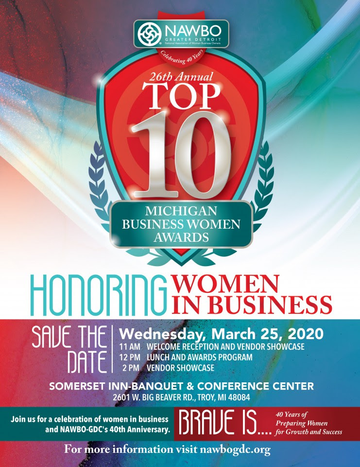 NAWBO Top 10 Michigan Business Women Awards  March 25, 2020