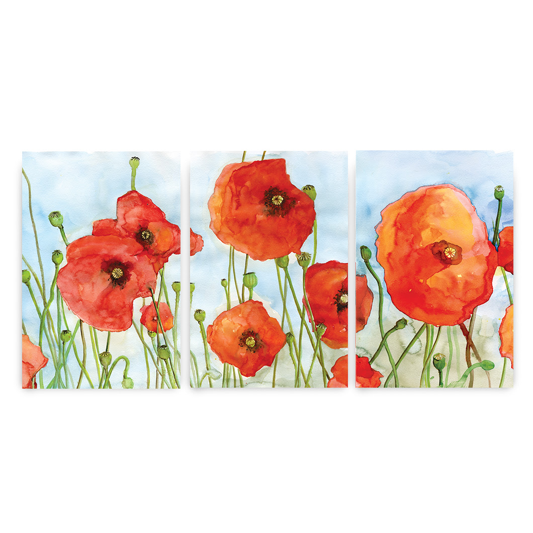 Poppy prints set of three