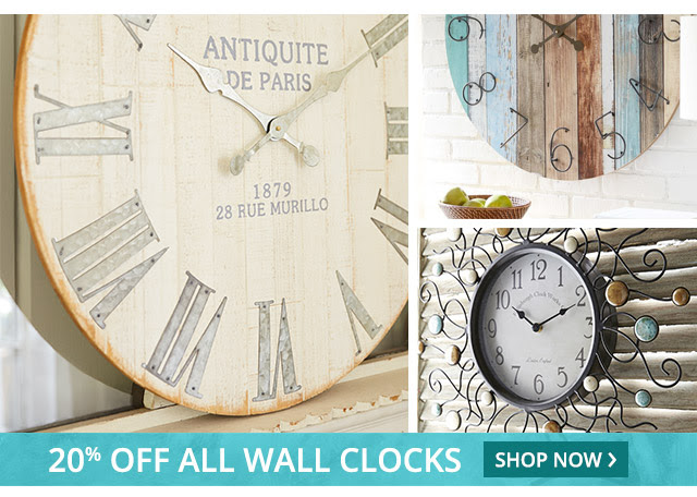 20% off all wall clocks: shop now.