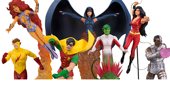 NEW TEEN TITANS STATUE SET