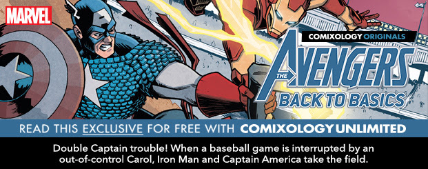 AVENGERS: BACK TO BASICS #3 Double Captain trouble! When a baseball game is interrupted by an out-of-control Carol, Iron Man and Captain America take the field. But wait—who's the other Carol flying in?