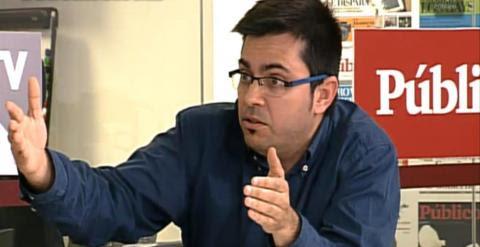"""Gerardo Pisarello durante su intervención en el debate """"La decisión de Catalunya"""" de Espacio Público. /PÚBLICO"""