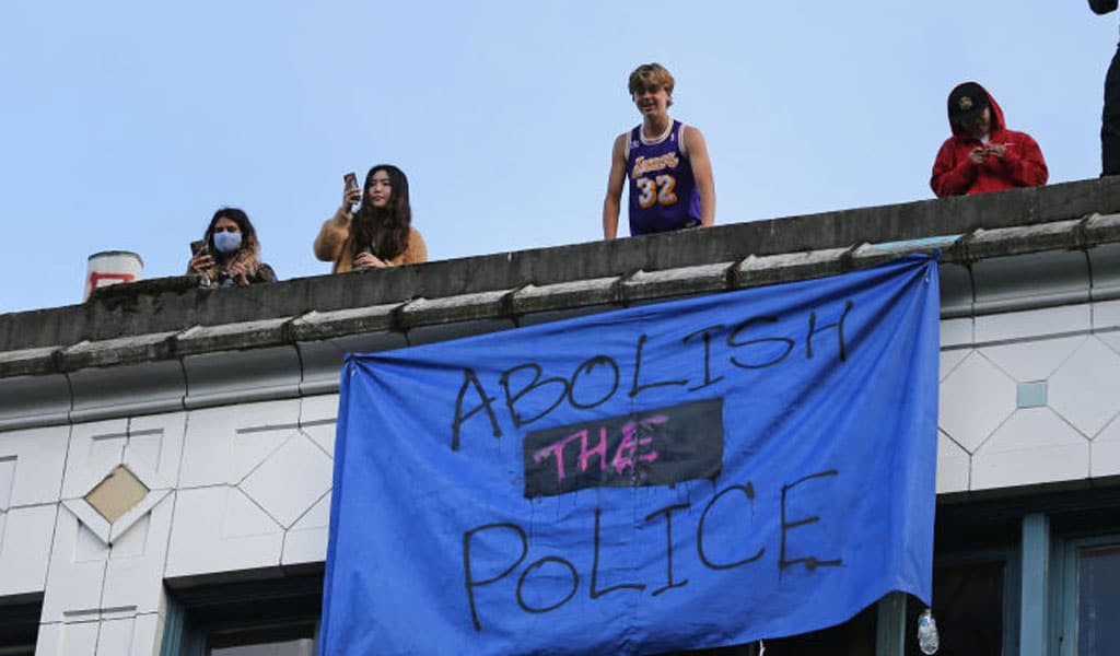 Sign reads abolish the police