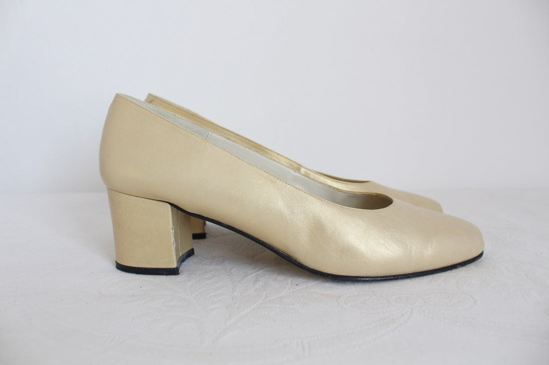 VINTAGE TONY MOLLA LEATHER HEELS - SIZE 5