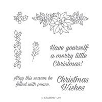 Peaceful Poinsettia Wood-Mount Stamp Set