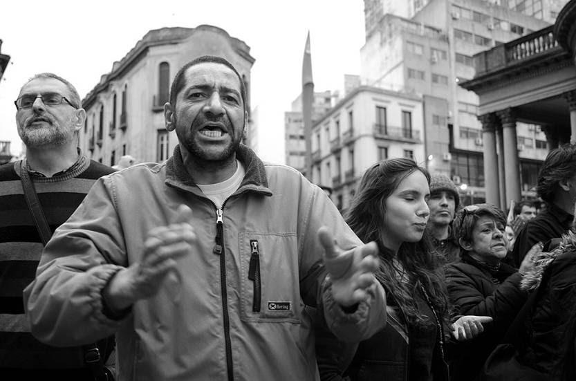Concentración contra los procesamientos, el lunes, frente al juzgado de Bartolomé Mitre. Foto: Pablo Vignali