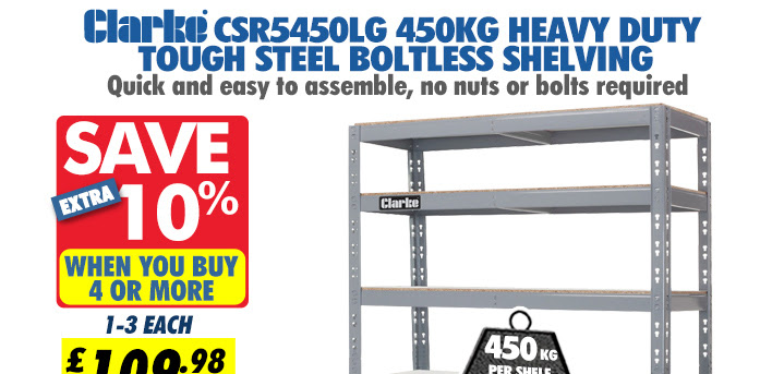 Clarke CSR5450LG 450kg Heavy Duty Tough Steel Boltless Shelving