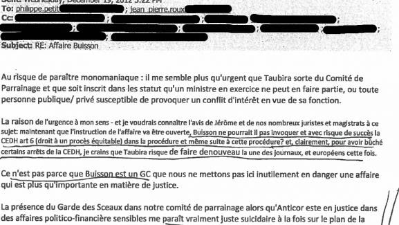 Un courrieladressé par Suzanne Devallet, membre du bureau de l'association Anticor, à d'autres membres de l'association, le 19 décembre 2012.