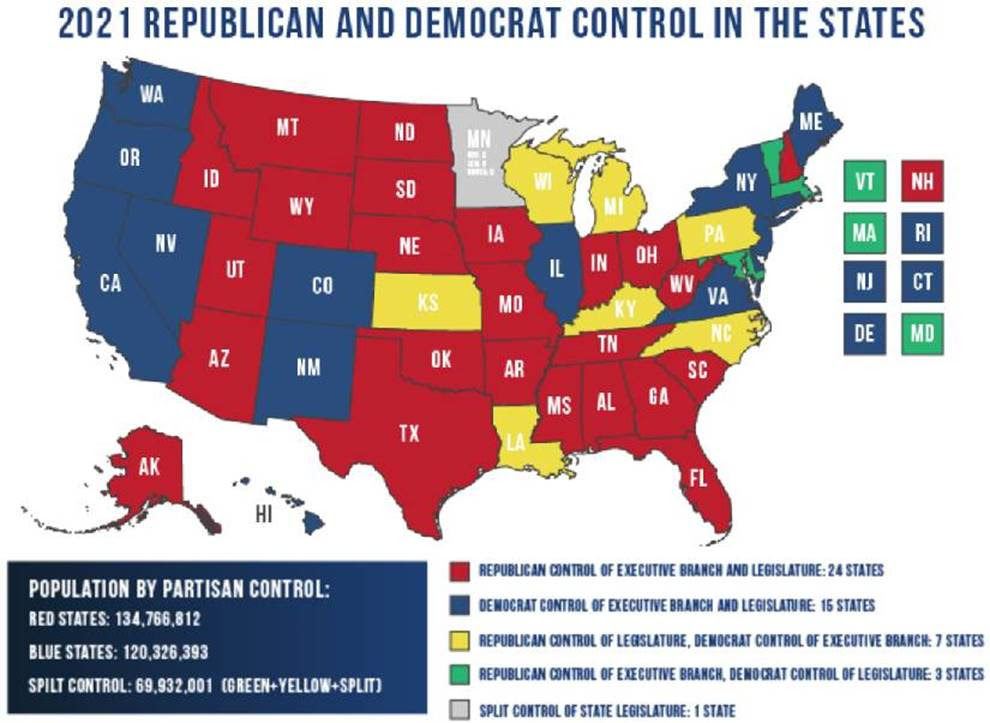 2021 Republican and Democrat Control in the States map
