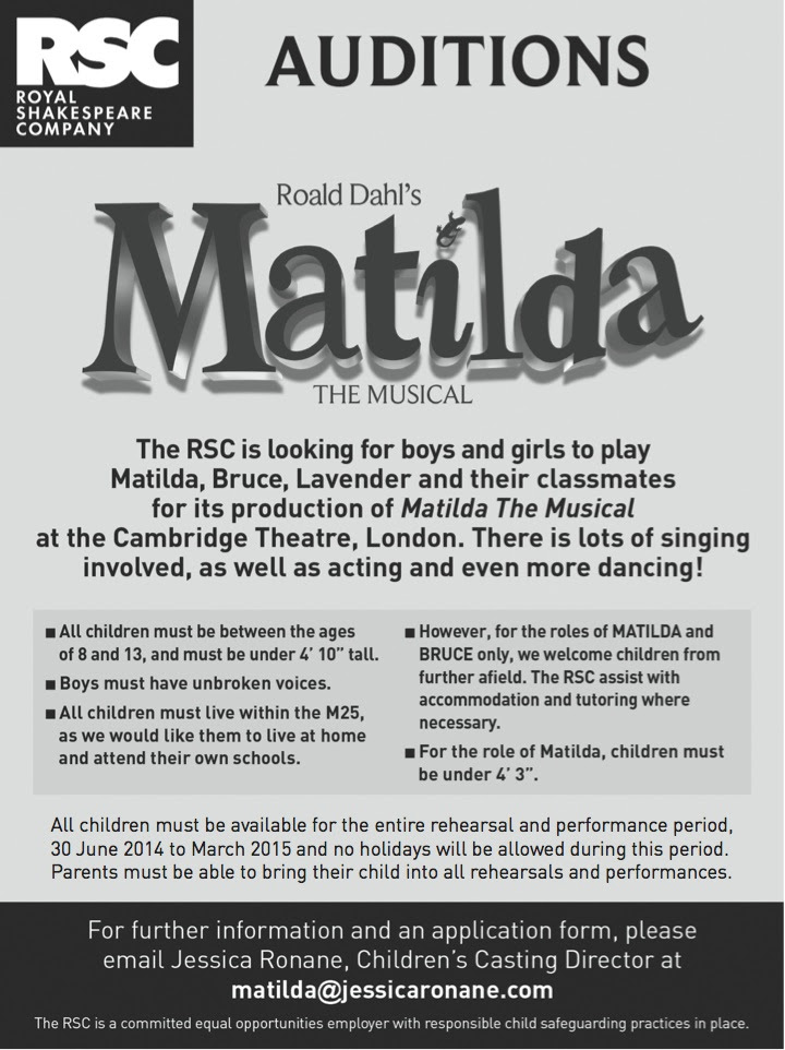 Casting For The West End Production Of Matilda Musical Gaiety School Acting