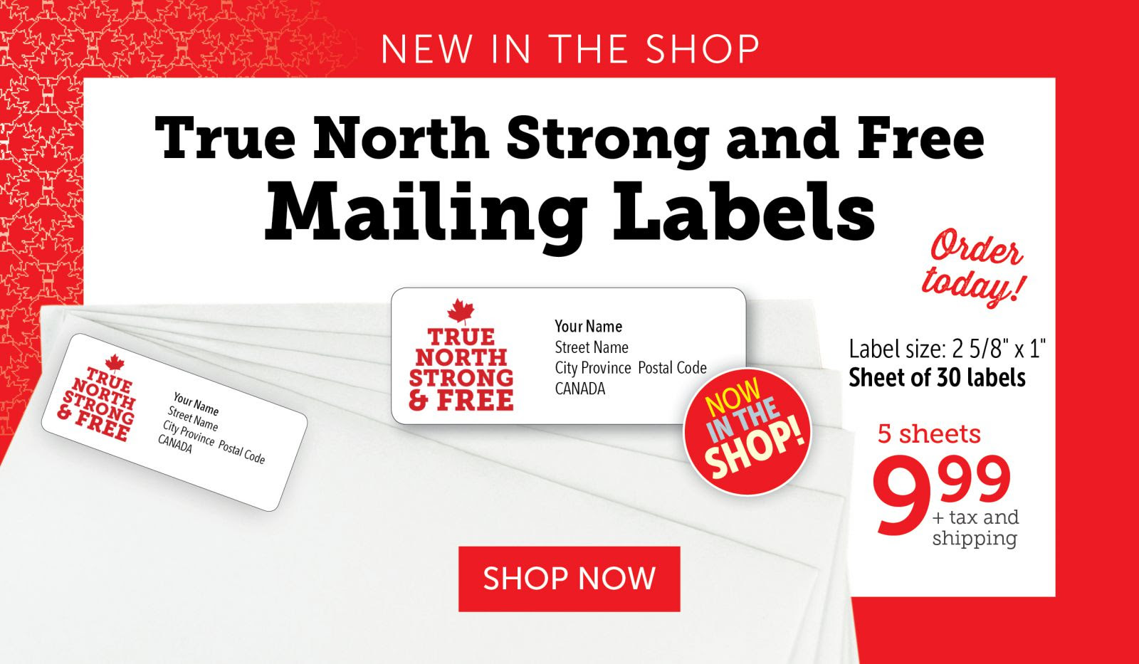 True North Strong and Free Mailing Labels!