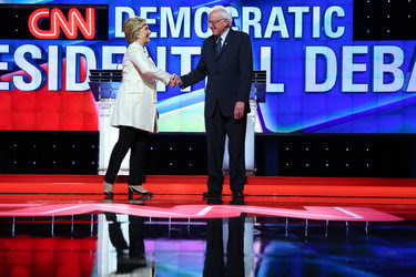 Hillary Clinton and Senator Bernie Sanders at the Democratic debate on Thursday in Brooklyn.
