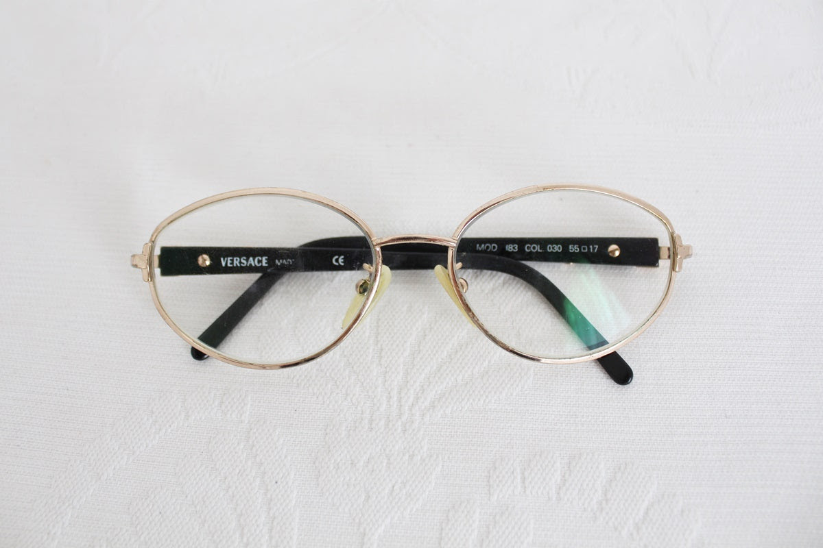 VERSACE VINTAGE GOLD BLACK SPECTACLE FRAMES