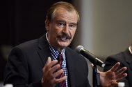 Former President Vicente Fox met with international reporters at a Mexico City hotel in September 2014.